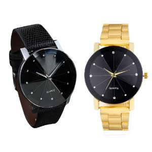 Kit Relógio Feminino Luxo Sport Couro Relógio Luxo Dourado Brilhante Pulseira Metal InTimes