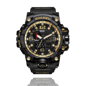 Relógio Masculino Militar Smael Esporte Anti-Shock 1545 Black Gold