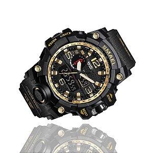 Relógio Masculino Militar Smael 1545 Prova Agua Black Gold