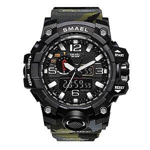 Relógio Masculino Militar Anti-Shock Camuflado Exercito Selva Smael 1545