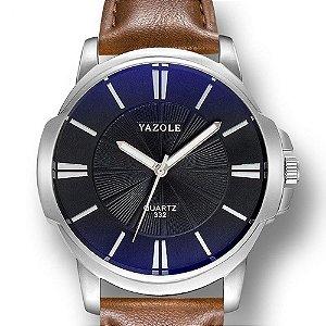 Relógio Masculino Yazole 332 Couro Marrom Fundo Azulado