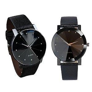 Kit Relógio Masculino Sport Prisma Brilhantes e Dourado Pulseira de Couro