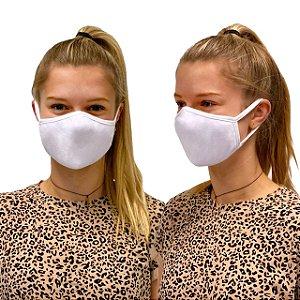 10 Máscara de Tecido Algodão Dupla Camada Anatômica Facial Lavável Reutilizável eMask Branca