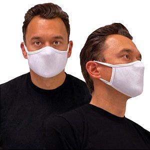 5 Máscara de Tecido Algodão Dupla Camada Anatômica Facial Lavável Reutilizável eMask Branca