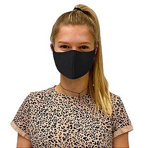 10 Máscara de Tecido Algodão Dupla Camada Anatômica Facial Lavável Reutilizável Preta