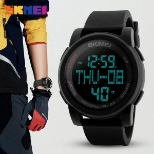 Relógio Masculino Esporte Digital Pedômetro Passos Calorias Cronometro Prova Dágua Skmei 1317 Preto