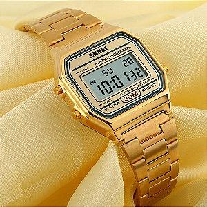 Relógio Feminino Skmei Retrô Digital 1123 Dourado