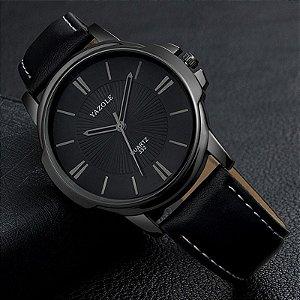 Relógio Masculino Luxo Yazole 332 Preto Full Pulseira Couro Natural