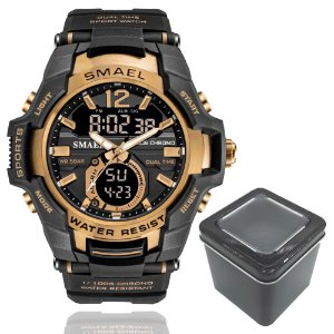 Relógio Masculino Smael 1805 Militar Sport Anti-Shock Dual-Time Bronze