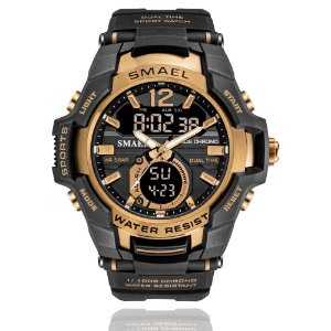 Relógio Masculino G-Shock Smael 1805 Militar Sport Anti-Shock Dual-Time Preto Bronze