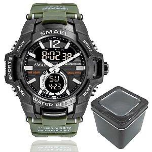 Relógio Masculino Smael 1805 Militar Sport Dual-Time Verde