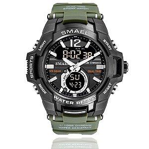 Relógio Masculino Smael 1805 Militar Anti-Shok Esporte Dual-Time Verde