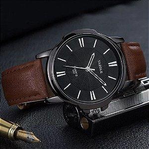 Relógio Masculino Luxo Yazole 332 Preto Full Pulseira Marrom Couro Natural