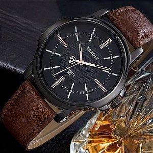 Relógio Masculino Luxo Yazole 358 Preto Dourado Pulseria Couro Marrom