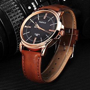Relógio Masculino Yazole 358 Preto Caixa Bronze Pulseira Marrom Couro