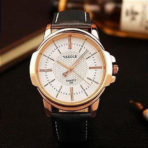 Relógio Masculino Yazole 358 Branco Caixa Bronze Pulseira Preta Couro
