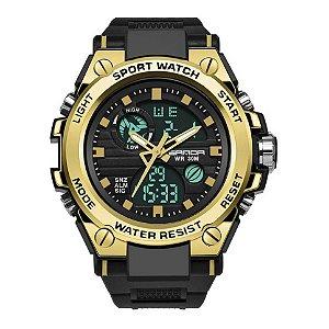 Relógio Masculino Sanda Militar Sport Anti-Shock Dual-Time 739 Gold