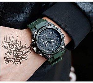 Relógio Masculino Sanda Militar Sport Anti-Shock Dual-Time 739 Verde Selva