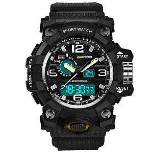 Relógio Masculino Sanda Militar Sport G-Shock Dual-Time 742 Black Silver