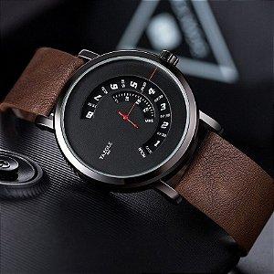 Relógio Masculino Luxo Yazole Racing Design Italiano 509 Preto Pulseira Marrom Couro