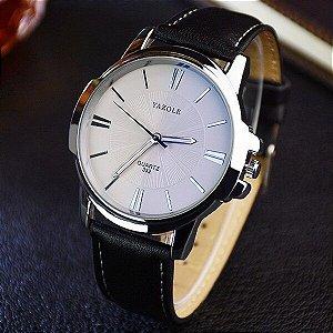 Relógio Masculino Luxo Yazole 332 Branco Caixa Prata Pulseira Preta Couro
