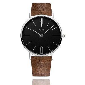 Relógio Masculino Elegante Yazole Design Luxo 506 Preta Pulseira Marrom