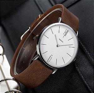 Relógio Masculino Elegante Yazole Design Luxo 506 Branco Pulseira Marrom
