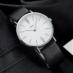 Relógio Masculino Elegante Yazole Design Luxo 506 Branco Pulseira Couro Preta