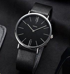 Relógio Masculino Elegante Yazole Design Luxo 506 Preto Pulseira Couro Preta