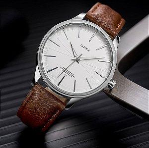 Relógio Masculino Luxo Yazole Design Premiado 512 Branco Pulseira Marrom
