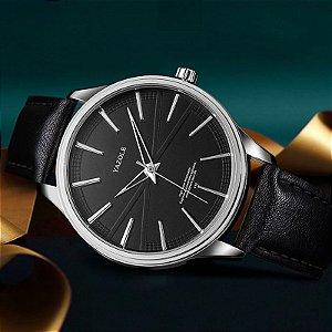 Relógio Masculino Luxo Yazole Design Premiado 512 Prata Preto Pulseira Couro