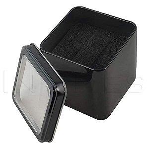 24 Caixinha Quadrada Estojo Lata Embalagem Caixa Relógio Preta