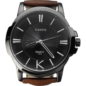 Relógio Masculino Luxo Korps 1319 Diamante Negro Pulseira Couro Marrom