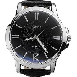 Relógio Luxo Masculino Korps 1319 Prata Fundo Preto Pulseira Couro Preta