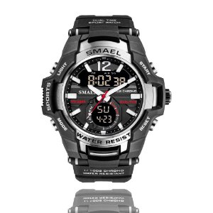 Relógio Masculino Smael 1805 Militar Sport Anti-Shock Dual-Time Silver