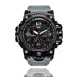 Relógio Masculino Smael 1545 Militar Esporte Anti-Shock Dual-Time Cinza