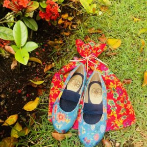 Sapatilha Verão Infantil Floral Turquesa