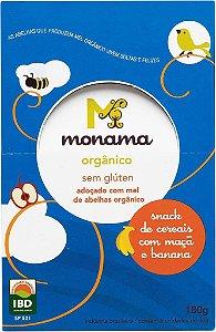 Display Snack Cereais Monama sabor Maçã e Banana - 06 unidades de 30g - Sem Glúten