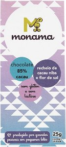 Chocolate 85% Nibs e Flor de Sal Monama Vegano 25g