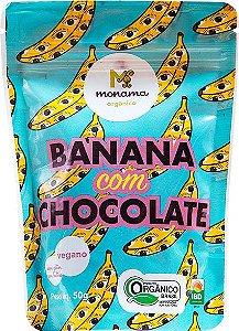 Snack de Banana com Chocolate 77% Monama Vegano Orgânico 50g