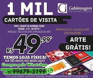 PROMOÇÃO - Cartão de Visita 4/0 Couché 250g Arte Grátis