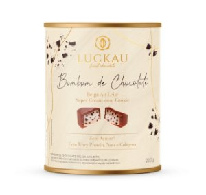 Lata chocolate belga ao leite com cookie Luckau 200g