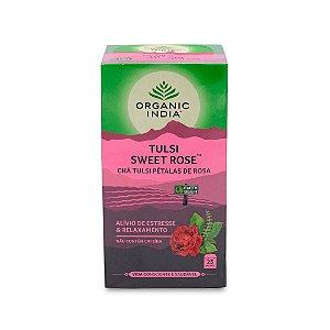 Cha tulsi sweer rose pétalas de rosas Organic India 25 saches
