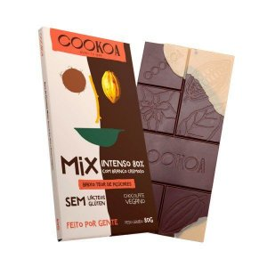 Chocolate mix intenso 80% e branco cremoso Cookoa 80g