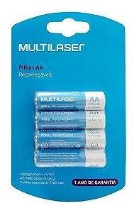 4 Pilhas Recarregável Multilaser Aa 2500mah