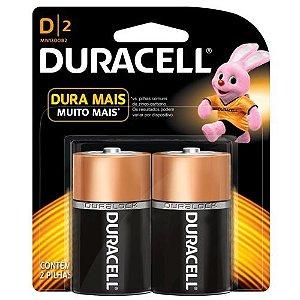 2 Pilhas Duracell Grande D Alcalina 1.5v