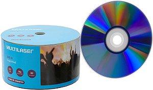 50 Unidades Mídia Dvd-r 16x 4.7GB Imprimível Multilaser