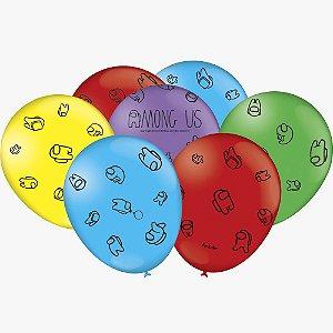 Balão Látex - 9 Polegadas - Among Us - 25 unidades