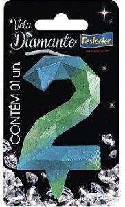 Vela Numeral Diamante - Azul/verde - número 2