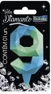 Vela Numeral Diamante - Azul/verde - número 9